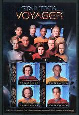 Tanzania 2010 MNH Star Trek Voyager Tuvok Chakotay Kathryn Janeway 4v M/S Stamps