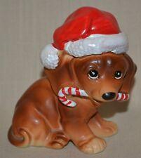 VTG Josef Originals FIGURINE Christmas Dachshund Dog Santa Hat & Candy Cane
