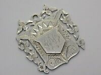 LARGE VICTORIAN 1881 STERLING SILVER WATCH FOB MEDAL. PRIMO SAM ASTLEY.   (NCB)