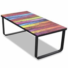 Modern Indoor Coffee Table Tempered Glass 5mm Rainbow Printing Metal Frame