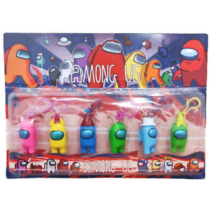 6PC Among Us Set 6CM Key Chain Figurine Plastic Toy Light Up Purple Ornage Toast