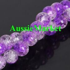 50 x Glass beads crackled crackle purple lavender clear suncatcher mobile 8mm