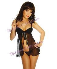Black Teddy Babydoll Valentine Bridal Lingerie Camisole & G String Size 10-12
