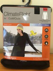 Climate Right Cuddl Duds Women Stretch Fleece Long sleeve Crew Top Black many sz