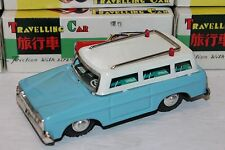 VERY NICE BLUE TIN FRICTION POWERED TRAVELING STATION WAGON WITH SOUND in BOX
