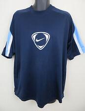 Mens Nike Top Soccer Jersey Blue Retro Football Shirt Tee 90s Trikot XL 45/47