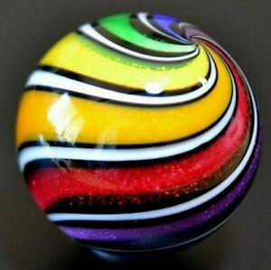 """HOT HOUSE GLASS MARBLE/1.725""""-RAINBOW BEACHBALL DICHROIC CURVIS # 491-ROYAL,LIME"""