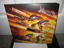 JUDAS PRIEST SIGNED FIREPOWER ALBUM AUTOGRAPH ROB HALFORD GLEN TIPTON LP PROOF