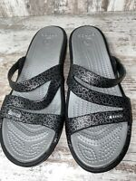 Crocs Disney Mickey Mouse Patricia Wedge Sandals Black Silver Womens Size 10