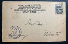 1903 Orange River Colony South Africa PS Postcard Cover To Ulm Germany