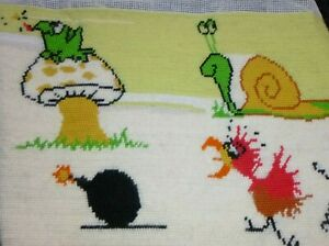 """Vtg Completed Needlepoint Frog Snail Chicken Bomb 16"""" x 12"""" NEEDS BLOCKING"""
