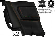 ORANGE STITCH 2X REAR FULL DOOR CARD TRIM LTHR COVER FITS TOYOTA SUPRA MK3 86-93