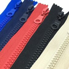 Closed End Chunky Plastic Teeth Zips - 14 to 30cms - Choice of zipper colours