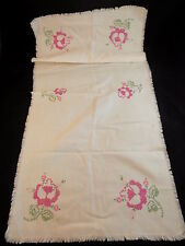 """Large Table Linen Embroidered Floral White Rectangular Centerpiece 2'10"""" x 16"""""""