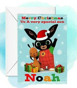 personalised Christmas card Bing any name/relation