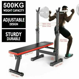 Heavy Duty Weight Bench Adjustable Folding Sit Up Barbell Dip Station Lifting UP
