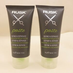 LOT OF 2 Tube RUSK Paste DEFINE & SEPARATE Medium Hold Fibrous Texture 1.5oz 43g