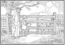 Scene - Scenery - Family Feeding Sheep Unmounted Clear Stamp Approx 75x51mm