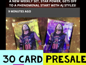 Topps WWE Slam Digital STAR POWER 1 ORANGE AND 2 PURPL EACH PRESALE  30 CARD SET
