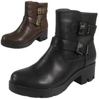 Womens Ladies Work Buckle Low Chunky Heel Platform Biker Ankle Boots Shoes Size