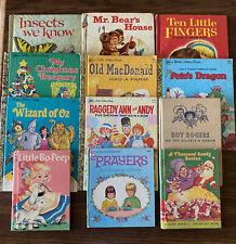 Lot of Twelve Vintage Children's Books - Little Golden, Wonder - 1950's-1980's