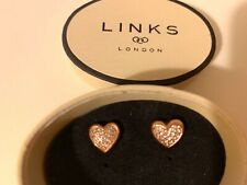 AUTHENTIC Links of London Womens Pure Heart Stud Earrings in Rose Gold