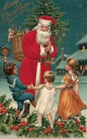 Christmas  Silk Suit~ Santa Claus ~Happy Children~ Basket of Toys Postcard-m98