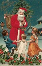 Christmas  Silk Robe~ Santa Claus ~Happy Children~ Basket of Toys Postcard-a553