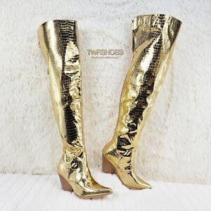 Disco Cowboy Western OTK Thigh High Cowgirl Boots 7-11 Gold Snake Chrome