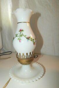 Vintage Hand painted Floral Milk Glass Hurricane Boudoir Lamp -Candlewick base