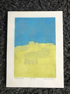 """JOHN BRUNSDON RE 1933-2014 Limited Edition ETCHING """"Cattle on Hill"""" Artist Proof"""