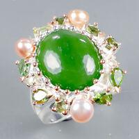 Prehnite Ring Silver 925 Sterling Handmade10ct+ Size 8 /R128882