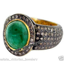 Emerald Studded Silver Ring Jewelry Estate Victorian 3.87Cts Rose Cut Diamond