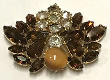JULIANA Hand Poured Glass Tiger Eye Cabochon & Topaz Multi Prong Stones Brooch