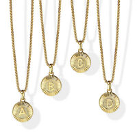 """18"""" Round Gold Plated Initial Letter Necklace Pendant Stainless Steel Box Chain"""