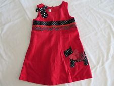 Bonnie Jean Corduroy Jumper Dress Red W Scottie Dog Details Size 3T #7785