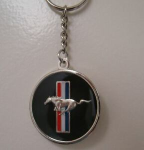 Round Mustang Tri-Bar Key Tag (50 Years Item) Collectible Key Chain FREE US SHIP