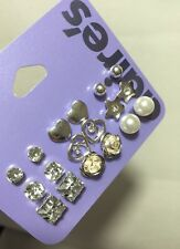 9 pair set CLAIRE'S Ear Stud Earring Silver-Tone Rose/Pearl/Crystal/Heart BNWT