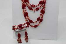 """Red Coral Orange Agate Pink Mother of Pearl 19"""" Necklace Bracelet Earring SET R9"""