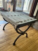 Vintage Hand Made Wood and Iron Mexican Occasional Table