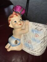 Vintage Lefton 984 Ceramic Baby Planter with Crown Vase Sticker Label