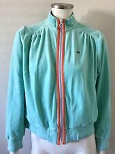 Authentic Lacoste Women's Aqua Blue Coral LS Velour Jacket Top Sz 44 12 NWOT X54