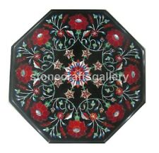 "12"" Marble Interior Side Coffee Table Top Carnelian Floral Inlay Home Decor B156"