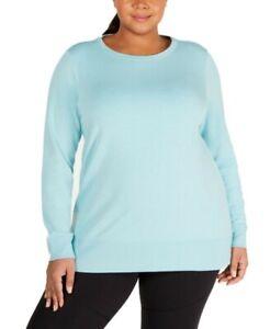 Ideology Womens Lattice Workout Sweatshirt Aqua Haze Blue 2X