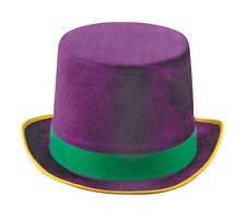 Adult size Mardi Gras Vel-Felt Top Hat - Gold Yellow Green Purple fnt