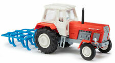 Busch 8712 - 1/120 - Tractor With Chisel Cultivator - Red - New