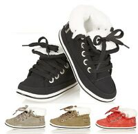 Unisex Kids Trainers HighTopS Fur Ankle Shoes Lace Up Casual Boys Girls Sneakers
