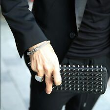 ByTheR Men's Fashion Chic Hard Studded Wallet Leather Spiked Punk Gothic AU