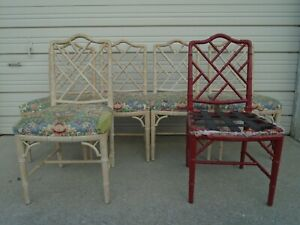 Set 6 Fretwork Faux Bamboo Dining Chairs Chinese Chippendale Hollywood Regency