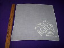 Vintage Applied Sewn Design Name Agnes White Wedding Hankie Handkerchief